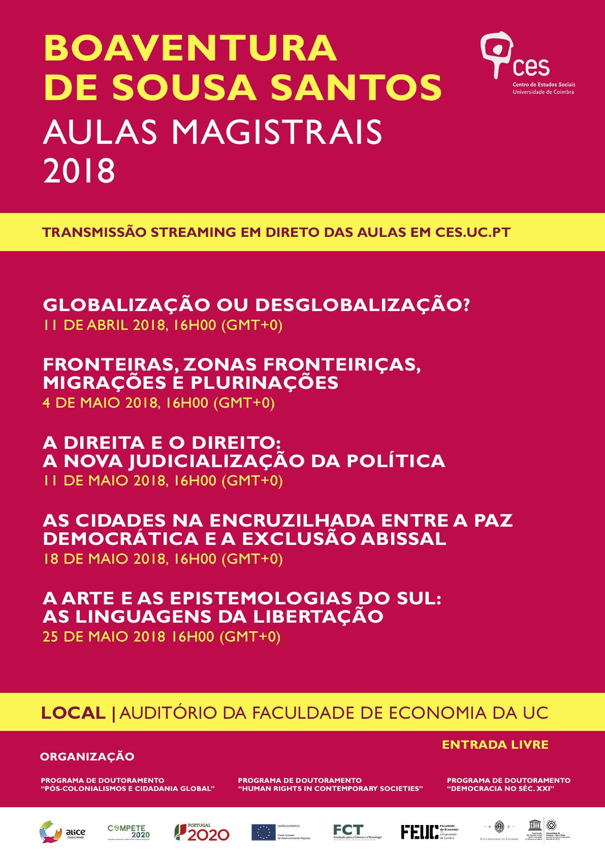 """Boaventura de Sousa Santos   Master Classes 2018<span id=""""edit_18819""""><script>$(function() { $('#edit_18819').load( """"/myces/user/editobj.php?tipo=evento&id=18819"""" ); });</script></span>"""