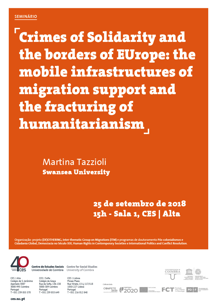 "Crimes of Solidarity and the borders of Europe: the mobile infrastructures of migration support and the fracturing of humanitarianism<span id=""edit_20424""><script>$(function() { $('#edit_20424').load( ""/myces/user/editobj.php?tipo=evento&id=20424"" ); });</script></span>"