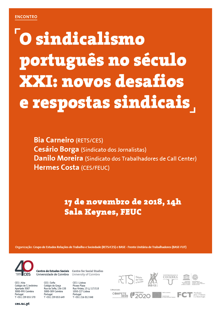 "Portuguese unionism in the 21st century: new challenges and union responses<span id=""edit_21002""><script>$(function() { $('#edit_21002').load( ""/myces/user/editobj.php?tipo=evento&id=21002"" ); });</script></span>"