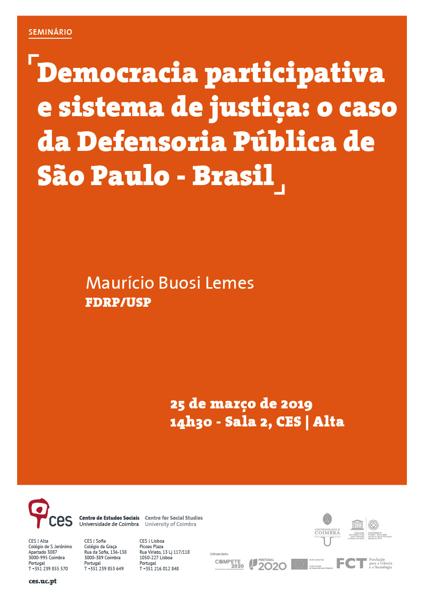 "Participatory democracy and the justice system: the case of the Public Defender of São Paulo - Brazil<span id=""edit_24094""><script>$(function() { $('#edit_24094').load( ""/myces/user/editobj.php?tipo=evento&id=24094"" ); });</script></span>"