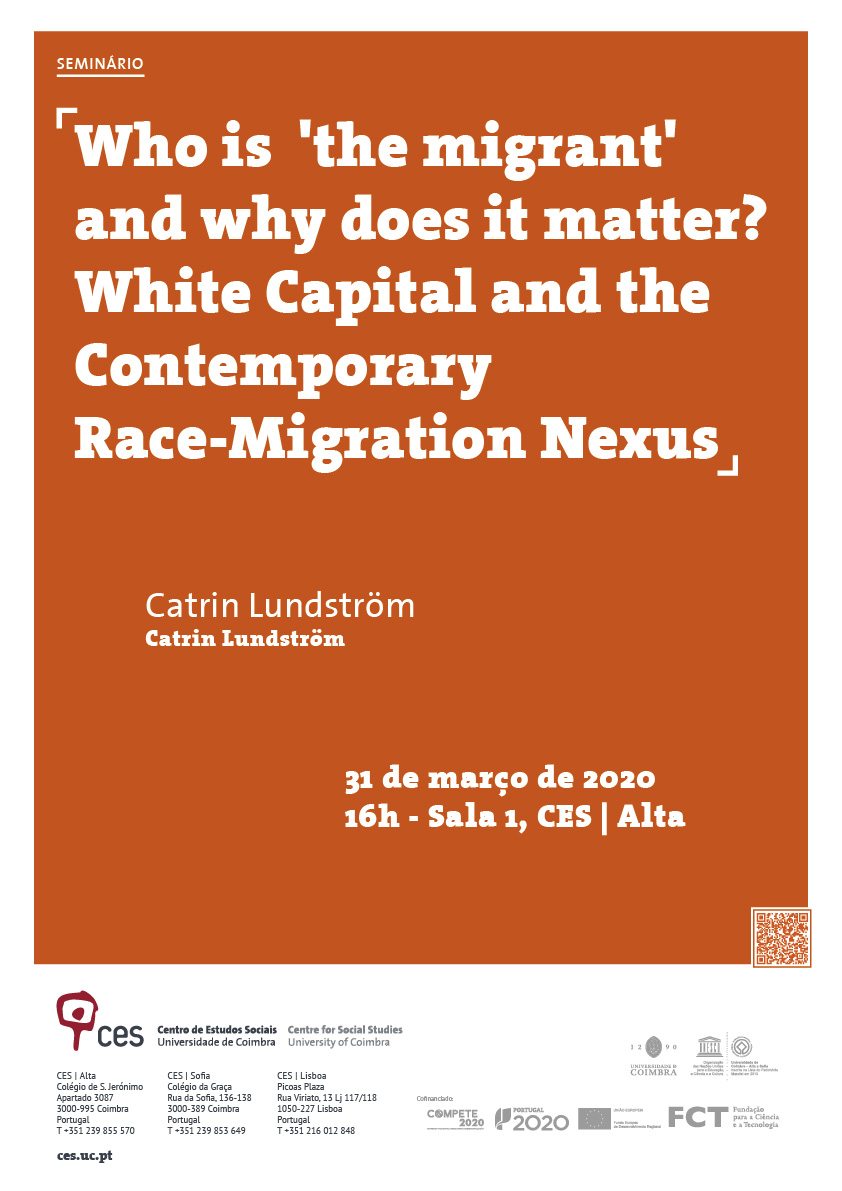 "Who is  'the migrant' and why does it matter? White Capital and the Contemporary Race-Migration Nexus [CANCELED]<span id=""edit_28386""><script>$(function() { $('#edit_28386').load( ""/myces/user/editobj.php?tipo=evento&id=28386"" ); });</script></span>"