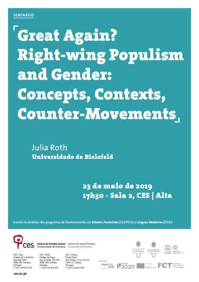 "Great Again? Right-wing Populism and Gender: Concepts, Contexts, Counter-Movements<span id=""edit_25032""><script>$(function() { $('#edit_25032').load( ""/myces/user/editobj.php?tipo=evento&id=25032"" ); });</script></span>"