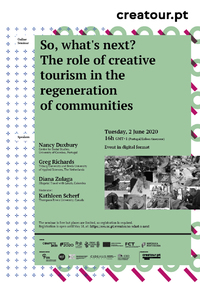 "So, what's next? The role of creative tourism in the regeneration of communities<span id=""edit_29607""><script>$(function() { $('#edit_29607').load( ""/myces/user/editobj.php?tipo=evento&id=29607"" ); });</script></span>"